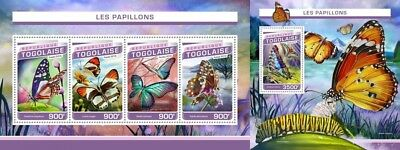 Z08 Imperforated TG16503ab Togo 2016 Butterflies MNH Set