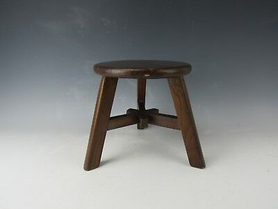 A Chinese Antique Style Walnut Brown Color Round Face Stool H:8.5-inch