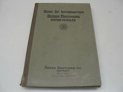 Rare May 1925 Dodge Brothers Motor Vehicles Book Of Information