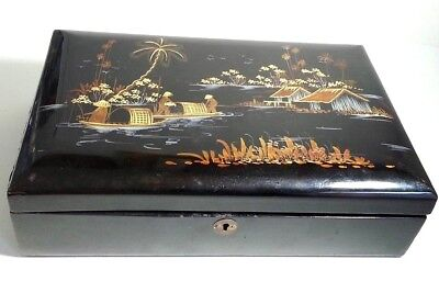 Antique Asian Inlay Wood Cosmetic Make Up Original Brush Box Mirror Compartments