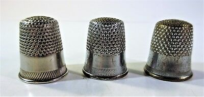Lot of 3 Vintage Metal Sewing Thimbles