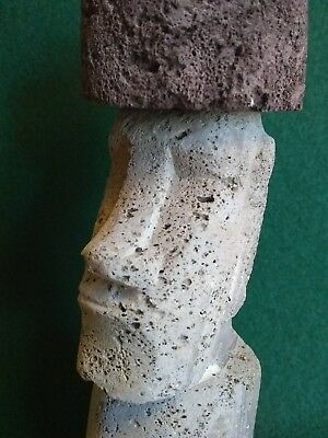 """Genuine Easter Island Moai Carved from Volcanic Rock """"Rapa Nui"""" """"Tiki"""" carving !"""