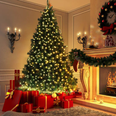 6Ft Pre-Lit Artificial Christmas Tree Hinged with 30M 300 LED Warm White Lights