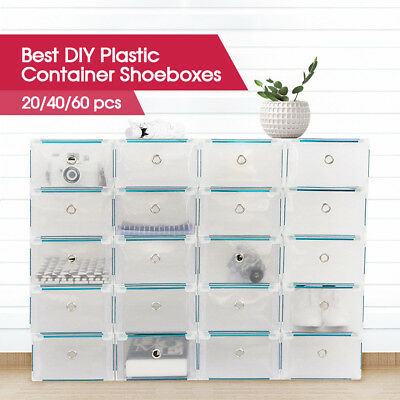 20/40/60pcs Stackable Foldable Clear Shoe Storage Cases Drawer Boxes Wardrobe