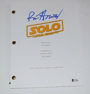 Ron Howard Signed Autograph SOLO A Star Wars Story Movie Script Beckett BAS COA