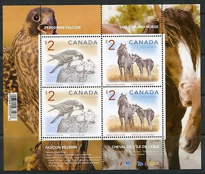 Weeda Canada 1692b VF MNH S/S of 4, 2005 Falcon/Horse $2 high values CV $20