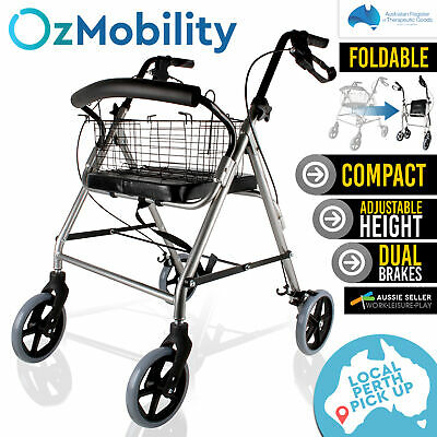 Foldable Rollator Walking Frame Outdoor Mobility 4 Wheels Walker Aid PICKUP