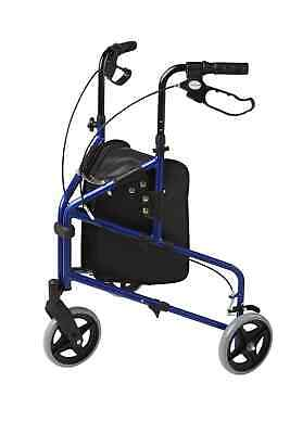 3 Wheel Rollator Lightweight Tri Walker 4.8 kg Basket Blue col BR NEW