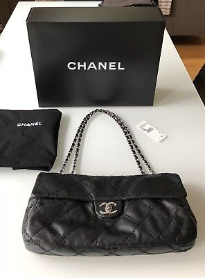 acb6e938515a CHANEL BLACK CLASSIC Bag w/ Flap 'Ultimate Stitch