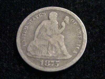 1875 CC Seated Liberty Silver Dime, full date, partial liberty, Carson City D882