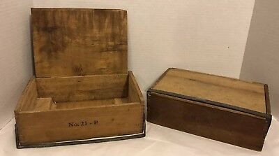 1900s Antique Pair Unique Wood Cigar Box w/ Dove Tail Joints Metal Band Closure