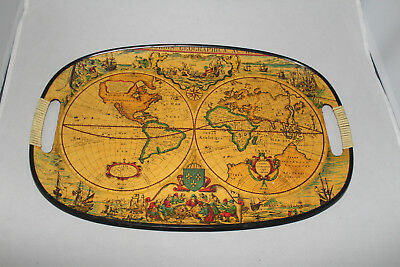 "Vintage Old World Orbis Geographica Map Serving Tray Mid Century 17.75"" x 11.75"""