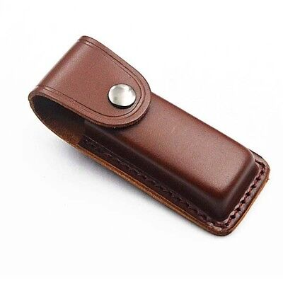 "5"" Leather Knife Case Genuine Brown Pocket Pouch Sheath Folding Carry Cover"