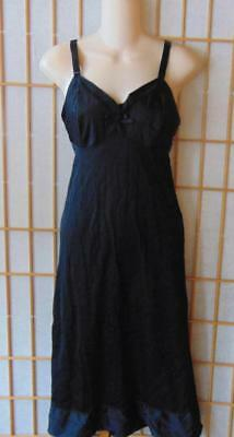 J C Penney Mg Size 38-32 Inches Long Black Full Slip W Cups Of Qiana Nylon