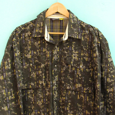 Vintage Burton Men's Shirt Abstract Snap Down Size Large Gray Yellow Long Sleeve