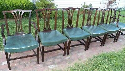SET of SIX Chippendale Dining Brown Mahogany Arm & Sides upholstered seats