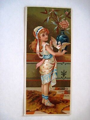 """Victorian Trade Card """"Muzzy's Corn Starch"""" for Baking Cakes w/ Recipes  *"""