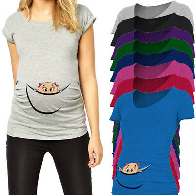 16765a3ed3b8c Funny maternity top baby peeking out pregnancy t shirt pregnant tee short  sleeve