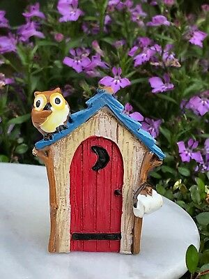 Miniature Dollhouse FAIRY GARDEN ~ Mini CAMPING Lake Outhouse with Owl