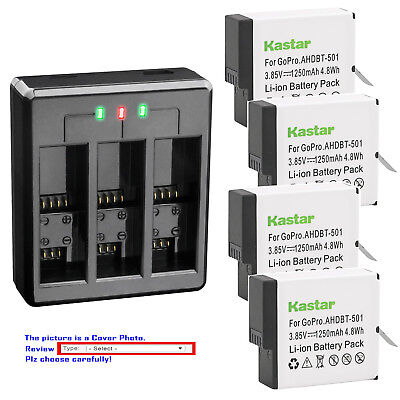 Kastar Battery USB Triple Charger for GoPro AHDBT-501 Hero 5 GoPro HERO5 Silver