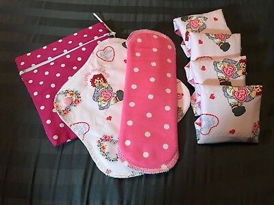 Set/6 Reusable Teen Menstrual Pads with wet-bag (Raggedy Ann & Andy)