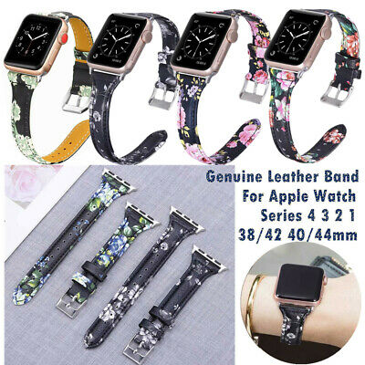 Retro Floral Flower Genuine Leather Band Belt Strap For Apple Watch Series 4321