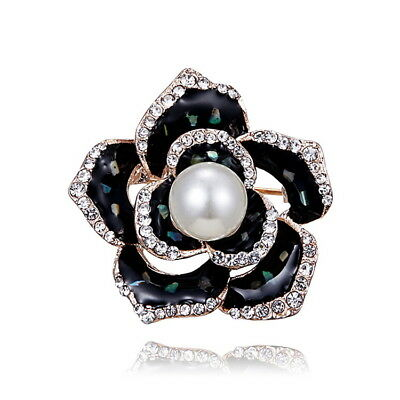Women Noble Atmosphere Black Flower Pearl Painting Brooch Fashion Alloy Brooch