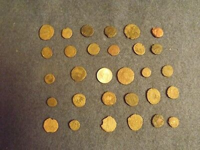LOT OF 25 ANCIENT BRONZE ROMAN COINS Unclean Mid-Low Grade WWII North Africa 28