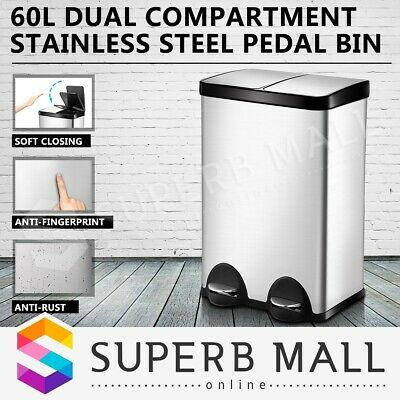 60L Stainless Steel Dual Compartment Pedal Rubbish Bin Kitchen Garbage Waste Can
