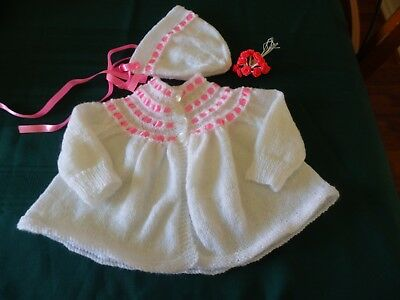 NEW - Hand knitted matinee jacket - White with pink ribbon trim 000