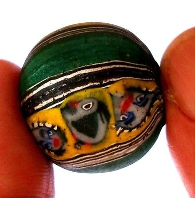 Ancient Phoenician Face Embed in Round Bead Colorful Mosaic Glass Art Pendant 28