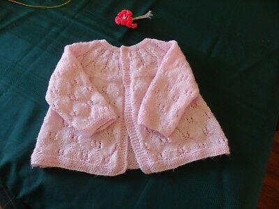 NEW - Hand knitted matinee jacket - Pink 000