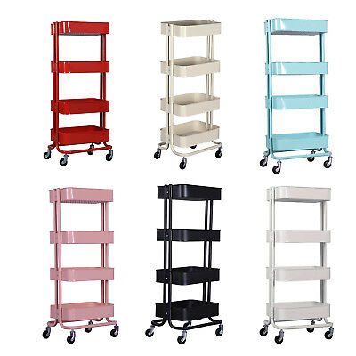 Metal Rolling Utility Cart Heavy Duty Mobile Storage Organizers Wire Rack Basket