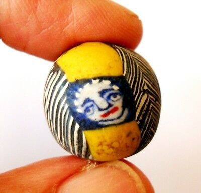 Ancient Phoenician Face Embed Mosaic Glass Round Yellow Bead ฺArt Pendant 29