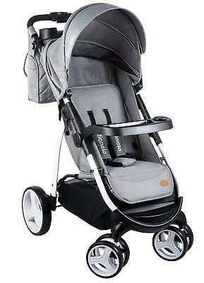 Lionelo Elise Pushchair Grey 100% Linen Sportbuggy Baby Buggy + Diaper Bag