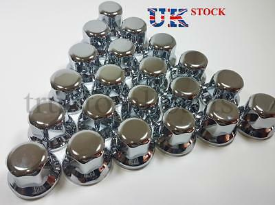 New 20x 33mm Wheel Nut Cover Lux Plastic CHROME fit Lorry Trailer Bus Truck LKW