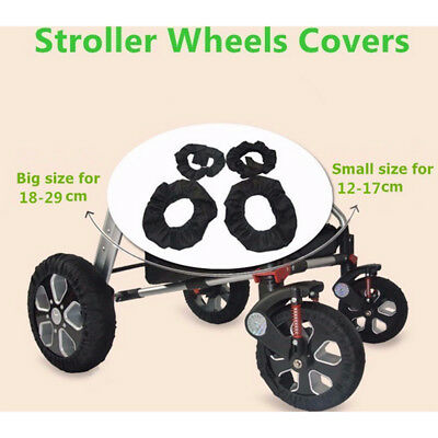 2Pcs Baby Kids Stroller Pram Anti Dirty From Floor Wheel Black Cover Accessory_H