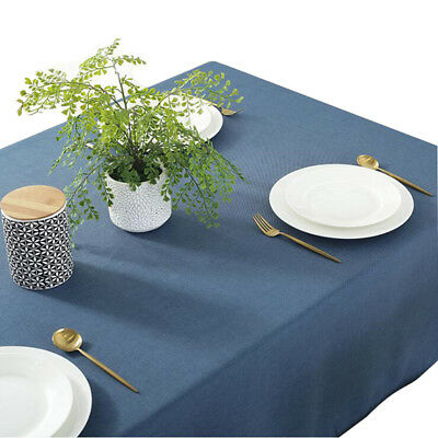 Solid Rectangular Cotton Linen Tablecloth Waterproof Macrame Lace Table Cover LH