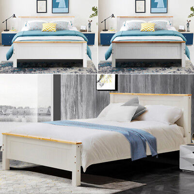 Double Single King Size Modern Solid Oak Top Wooden Bed Frame Panel Beds Home UK