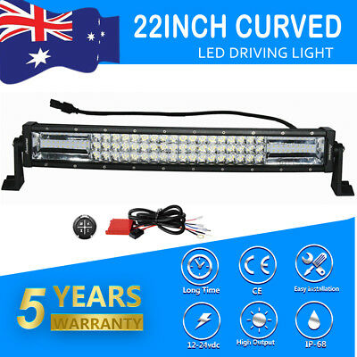 Curved 22inch 1260W Tri Row LED Light Bar Combo Driving Offroad Truck Wiring 23'