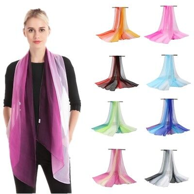 Womens Scarf Voile Shawl Ladies Neck Wrap Colorful Pashmina Stole Long Scarves