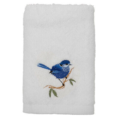 NEW Pilbeam Blue Wren Embroidered Hand Towel