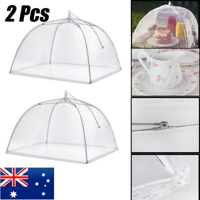 2Pcs Large Mesh Food Cover Umbrella Dome Pop Up Plate Foldable Lace Net Tent NEW