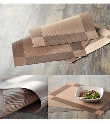 6Pcs/Set Dining Table Mats Woven Effect Placement Insulation Washable Party Xmas