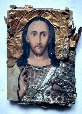 Antique Old Orthodox Icon Jesus Christ Russian Empire Hand Painted Board 18x13cm