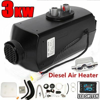 12V 3KW Diesel Air Heater Tank Vent Duct Thermostat Caravan W/+ LCD switch MU