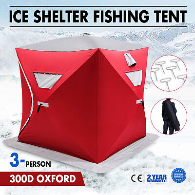 Pop-up 3-person Ice Shelter Fishing Tent Shanty Accessories Stability Waterproof