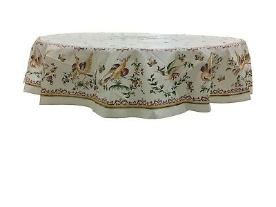 French Provencal Coated Cotton Tablecloth Moustiers Birds/Flowers Pink Round 71""