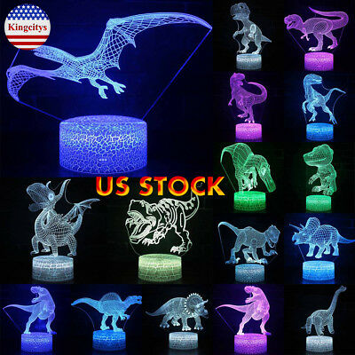 3D LED Night Light Dinosaur Series Remote & Touch Control 7/16 Color Change US