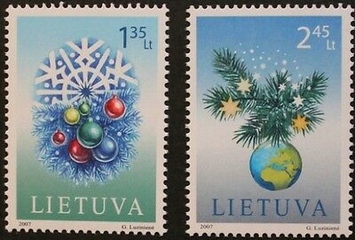 Christmas stamps, 2007, snowflake, baubles, holly, Lithuania, MNH